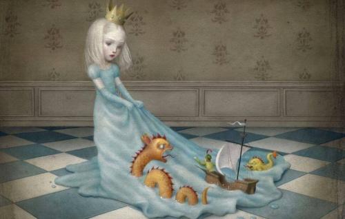 Niña-vestida-de-princesa-arrastrando-su-vestido